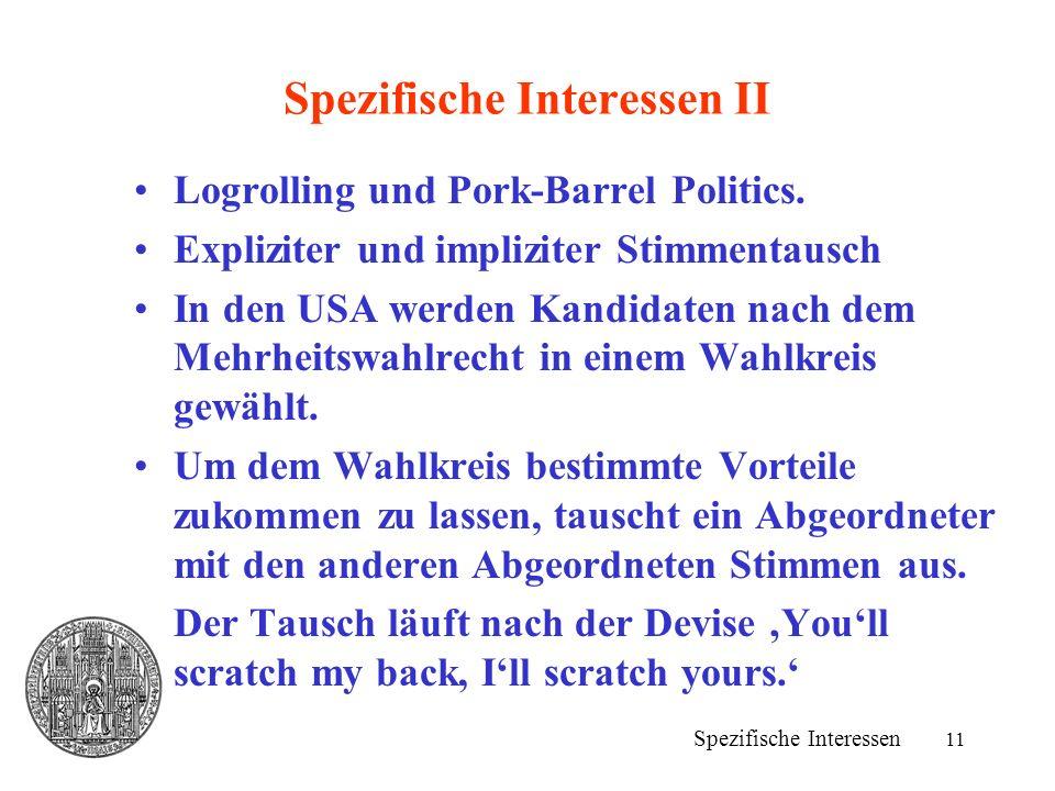 11 Spezifische Interessen II Spezifische Interessen Logrolling und Pork-Barrel Politics.