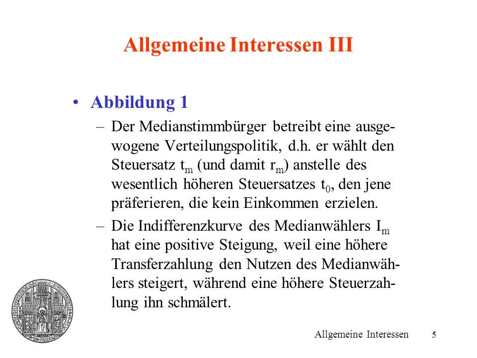 5 Allgemeine Interessen III Abbildung 1 –Der Medianstimmbürger betreibt eine ausge- wogene Verteilungspolitik, d.h.