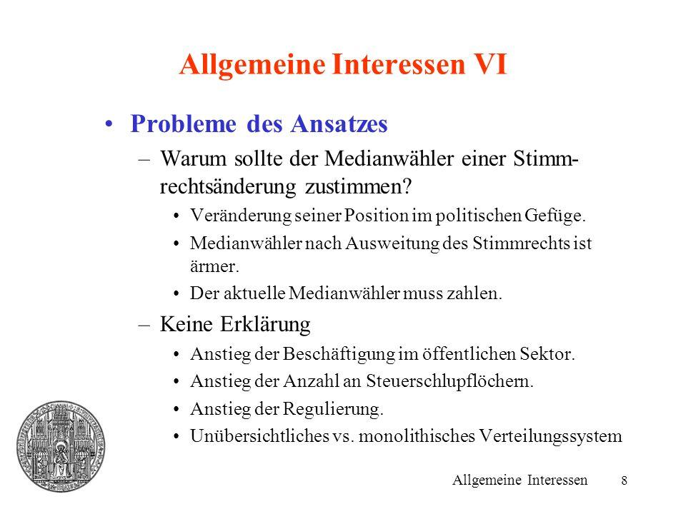 8 Allgemeine Interessen VI Probleme des Ansatzes –Warum sollte der Medianwähler einer Stimm- rechtsänderung zustimmen.
