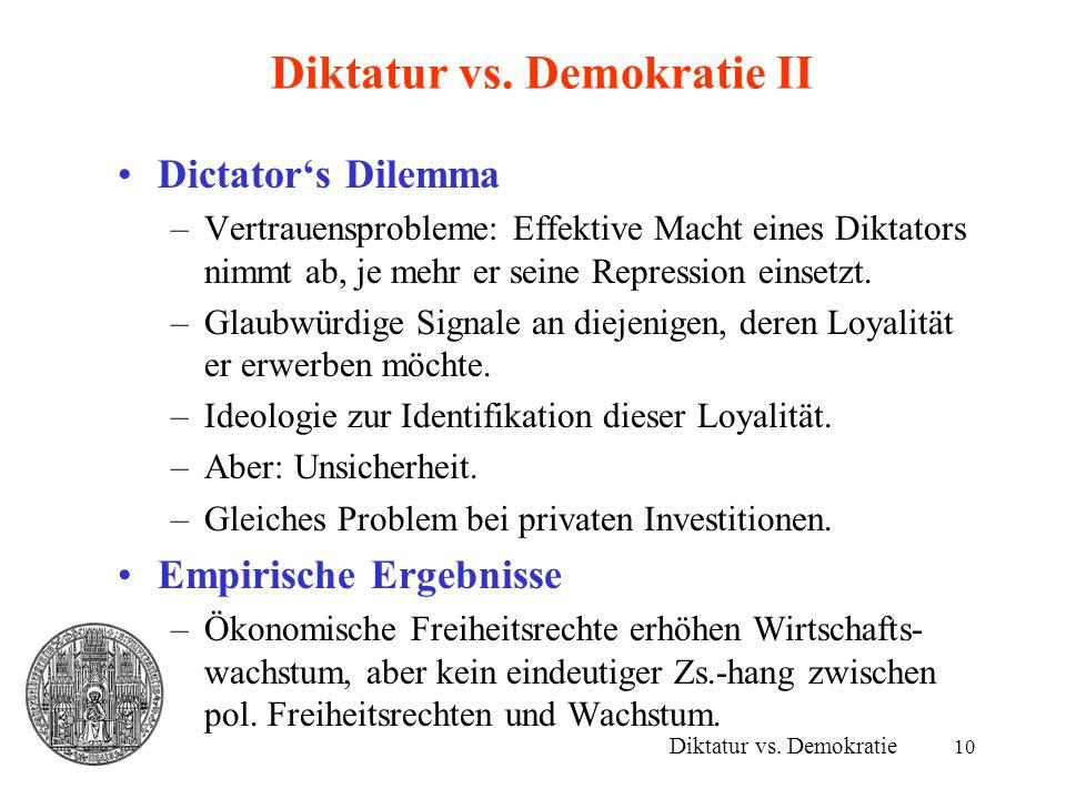 10 Diktatur vs. Demokratie II Dictators Dilemma –Vertrauensprobleme: Effektive Macht eines Diktators nimmt ab, je mehr er seine Repression einsetzt. –