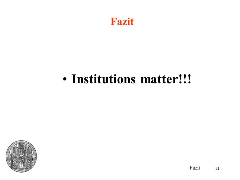 11 Fazit Institutions matter!!!