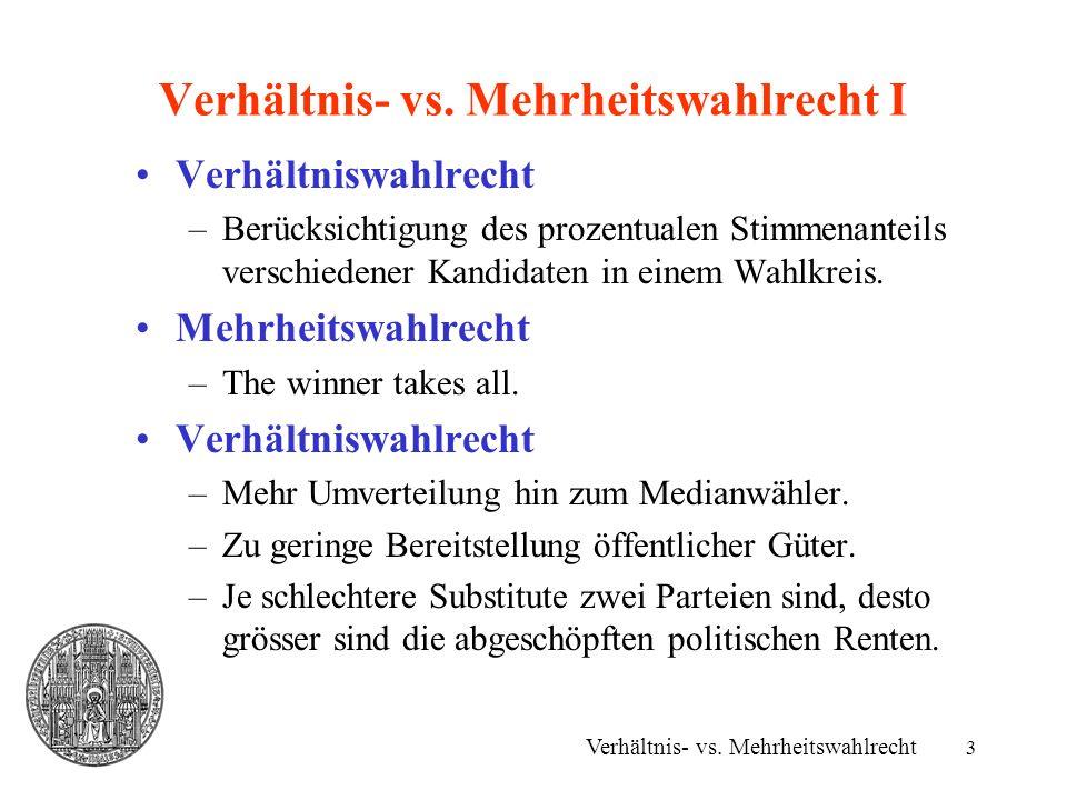 3 Verhältnis- vs. Mehrheitswahlrecht I Verhältnis- vs. Mehrheitswahlrecht Verhältniswahlrecht –Berücksichtigung des prozentualen Stimmenanteils versch