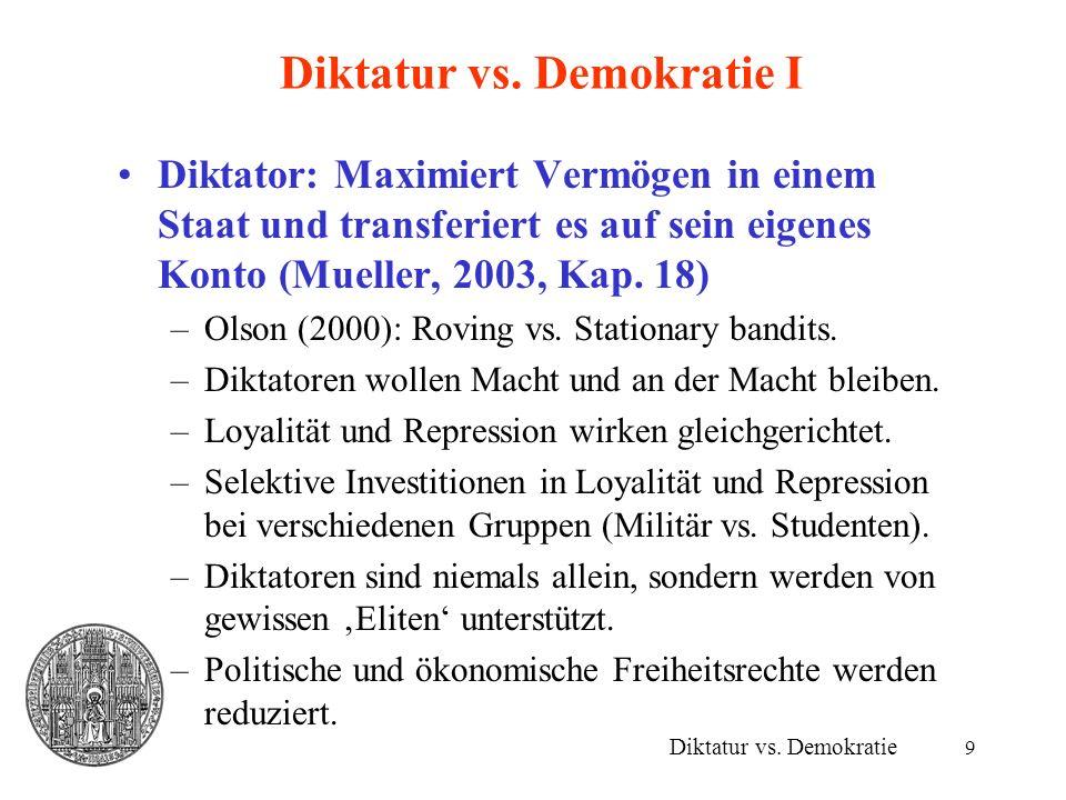 9 Diktatur vs. Demokratie I Diktator: Maximiert Vermögen in einem Staat und transferiert es auf sein eigenes Konto (Mueller, 2003, Kap. 18) –Olson (20