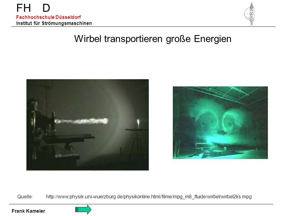 FH D Fachhochschule Düsseldorf Institut für Strömungsmaschinen Wirbel transportieren große Energien Quelle: http://www.physik.uni-wuerzburg.de/physiko