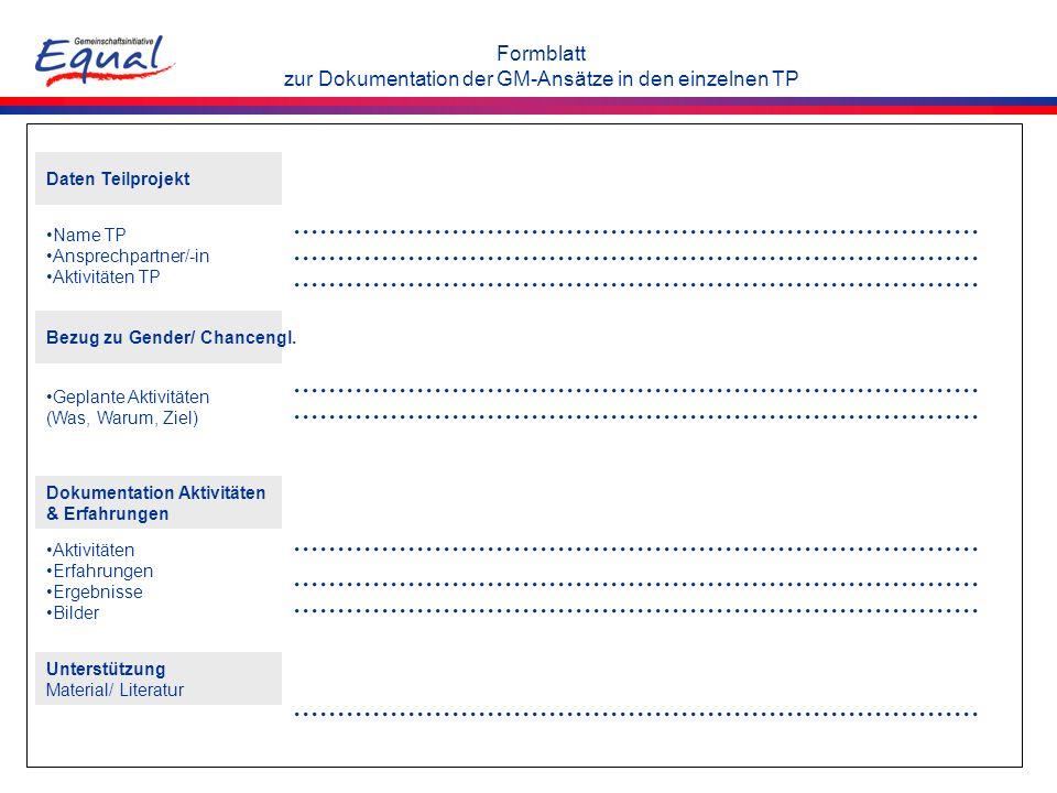 Formblatt zur Dokumentation der GM-Ansätze in den einzelnen TP Daten Teilprojekt Name TP Ansprechpartner/-in Aktivitäten TP Bezug zu Gender/ Chancengl