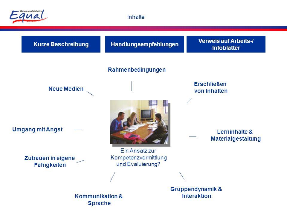 Inhalte Rahmenbedingungen Erschließen von Inhalten Lerninhalte & Materialgestaltung Gruppendynamik & Interaktion Kommunikation & Sprache Zutrauen in e