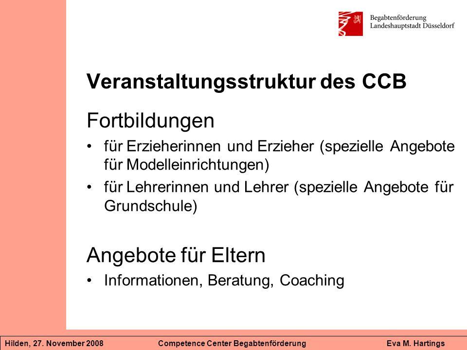 Veranstaltungsstruktur des CCB Fortbildungen für Erzieherinnen und Erzieher (spezielle Angebote für Modelleinrichtungen) für Lehrerinnen und Lehrer (s