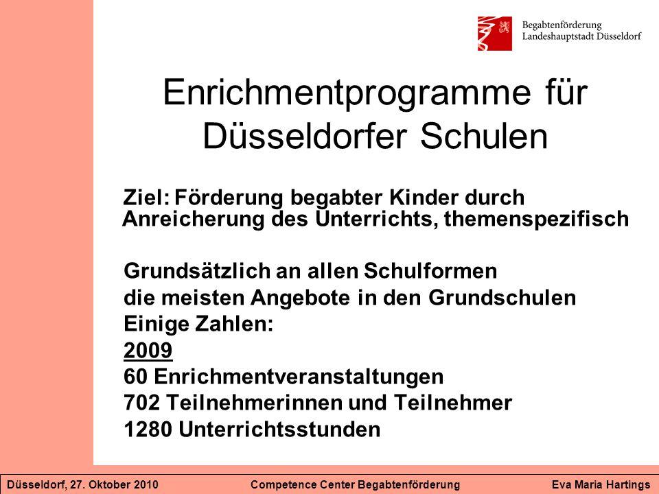 Enrichmentprogramme für Düsseldorfer Schulen Ziel: Förderung begabter Kinder durch Anreicherung des Unterrichts, themenspezifisch Grundsätzlich an all