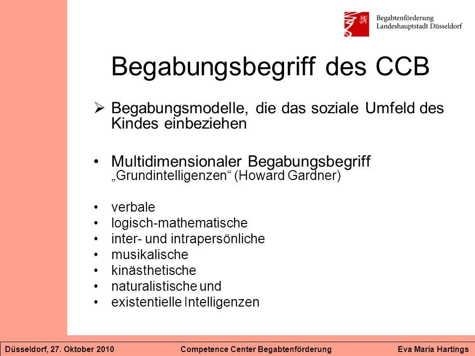 Begabungsbegriff des CCB Begabungsmodelle, die das soziale Umfeld des Kindes einbeziehen Multidimensionaler Begabungsbegriff Grundintelligenzen (Howar