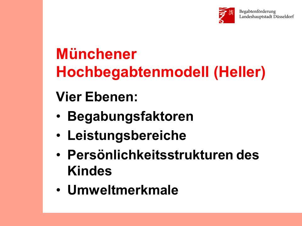 Münchener Hochbegabtenmodell (Heller) Begabungsfaktoren: Intellektuelle Fähigkeiten (sprachliche, mathematische, technisch-konstruktive, abstrakte, begrifflich-logische Fähigkeiten) Sozial-emotionale Fähigkeiten Musisch-künstlerische Fähigkeiten Musikalische Fähigkeiten Kreativität (sprachliche, mathematische, technische, gestalterische) Psychomotorische Fähigkeiten (Sport, Tanz) Praktische Intelligenz Düsseldorf, 27.