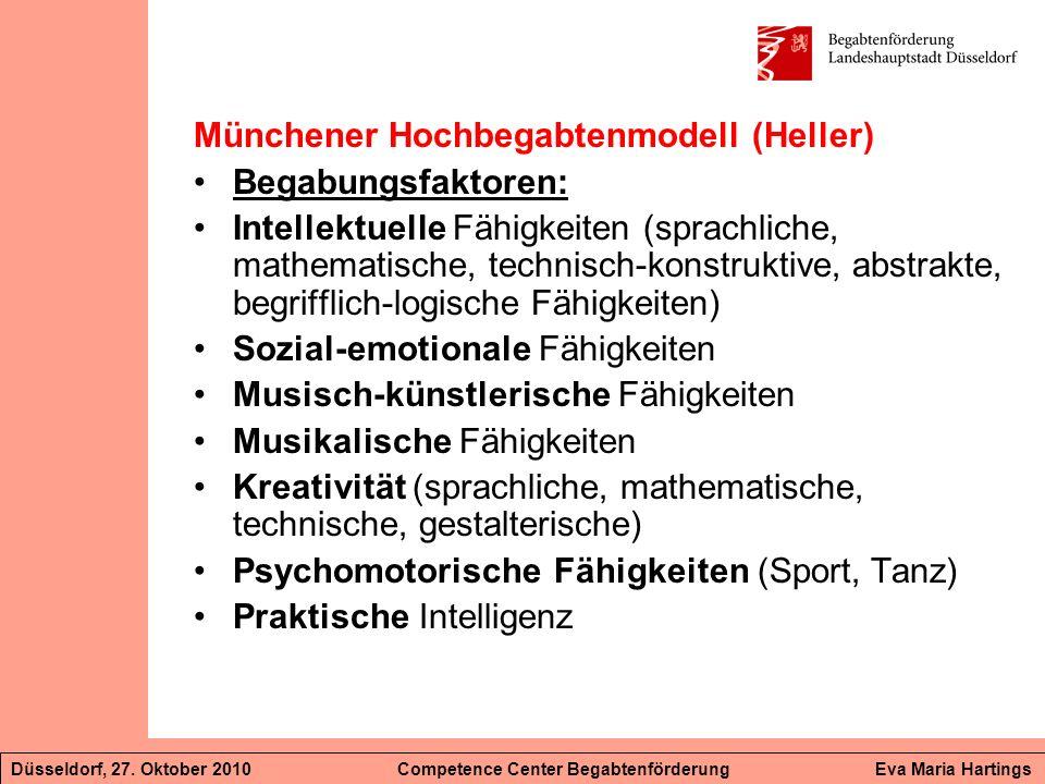 Münchener Hochbegabtenmodell (Heller) Begabungsfaktoren: Intellektuelle Fähigkeiten (sprachliche, mathematische, technisch-konstruktive, abstrakte, be