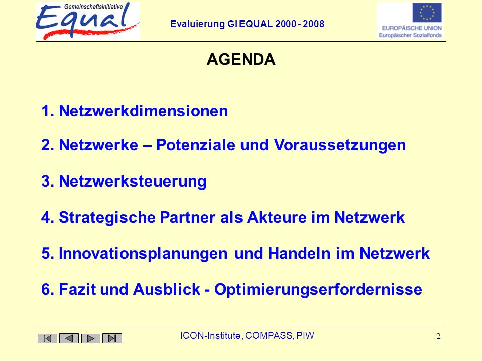 Evaluierung GI EQUAL 2000 - 2008 ICON-Institute, COMPASS, PIW 2 AGENDA 1.
