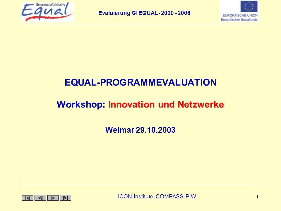 Evaluierung GI EQUAL- 2000 - 2006 ICON-Institute, COMPASS, PIW 2 Inhalt der Präsentation 1.