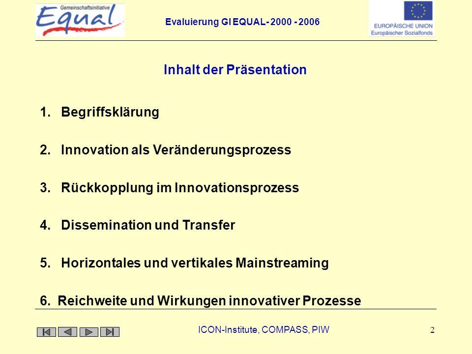 Evaluierung GI EQUAL- 2000 - 2006 ICON-Institute, COMPASS, PIW 13 vertikales Mainstreaming horizontales Mainstreaming Politikebene Quell- kontext Anwendungs- kontext Innovation Horizontales und vertikales Mainstreaming
