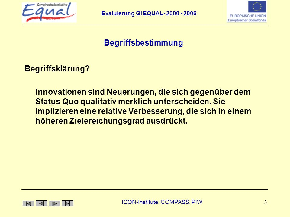 Evaluierung GI EQUAL- 2000 - 2006 ICON-Institute, COMPASS, PIW 14