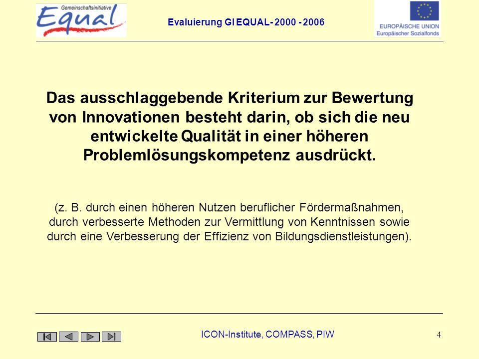 Evaluierung GI EQUAL- 2000 - 2006 ICON-Institute, COMPASS, PIW 15 Erwartete Reichweite der Innovationen in der GI EQUAL GI EQUAL AntwortAnzahl EPIn Prozent EU-weit811,1 Bundesweit2534,7 Regional3852,8 Lokal11,4 Insgesamt72100 Quelle: CM, k.A.