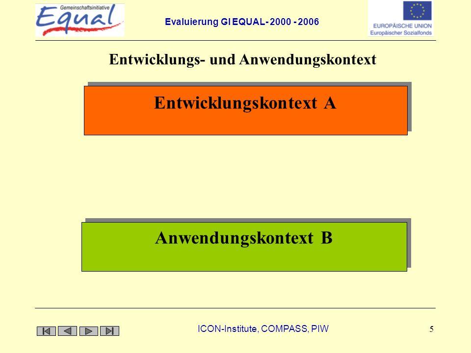 Evaluierung GI EQUAL- 2000 - 2006 ICON-Institute, COMPASS, PIW 5 Innovation Entwicklungskontext A Anwendungskontext B Entwicklungs- und Anwendungskont