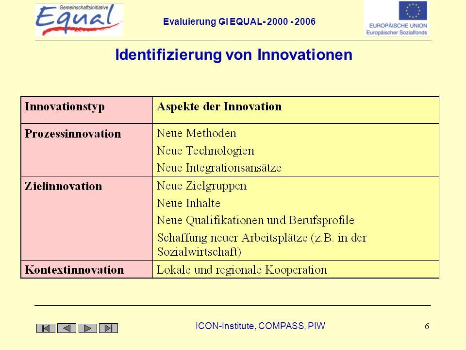 Evaluierung GI EQUAL- 2000 - 2006 ICON-Institute, COMPASS, PIW 7 Wurden alle Innovationen geschlechterdifferenziert betrachtet.