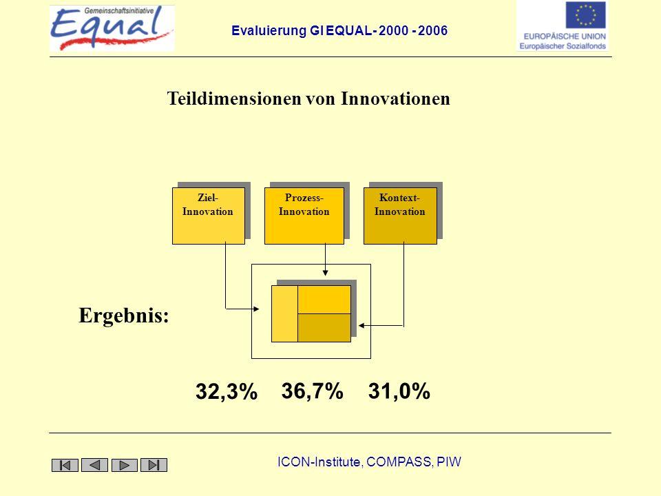 Evaluierung GI EQUAL- 2000 - 2006 ICON-Institute, COMPASS, PIW Auslöser von Innovation Demand pullKnow how push Innovation Unzureichendes Instrument Ungenügende Abstimmung Paradigmenwechsel in der Arbeitsmarktpolitik Empowerment Neue Technologien