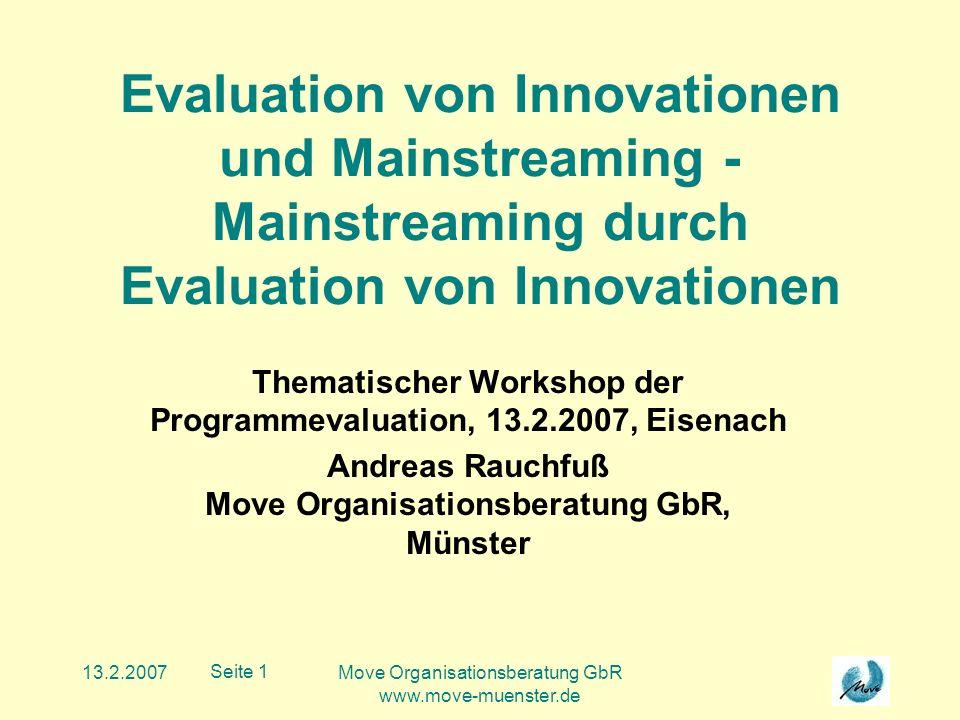 13.2.2007Move Organisationsberatung GbR www.move-muenster.de Seite 12 Produkt-/Marktmatrix