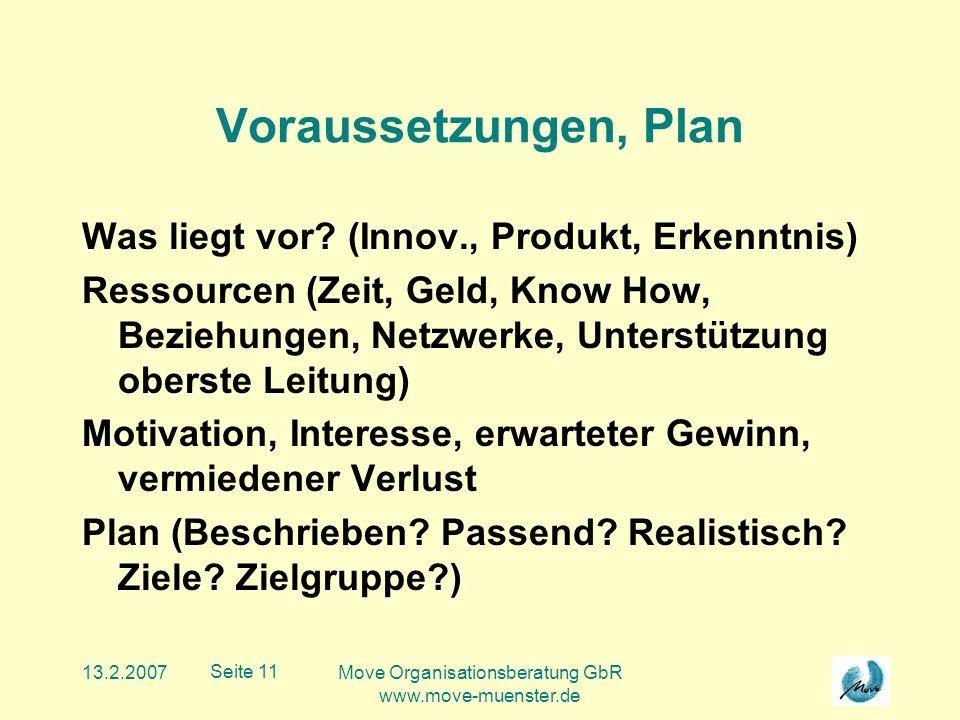 13.2.2007Move Organisationsberatung GbR www.move-muenster.de Seite 11 Voraussetzungen, Plan Was liegt vor.