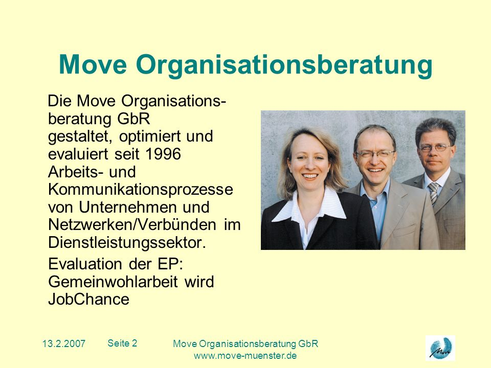 13.2.2007Move Organisationsberatung GbR www.move-muenster.de Seite 2 Move Organisationsberatung Die Move Organisations- beratung GbR gestaltet, optimiert und evaluiert seit 1996 Arbeits- und Kommunikationsprozesse von Unternehmen und Netzwerken/Verbünden im Dienstleistungssektor.