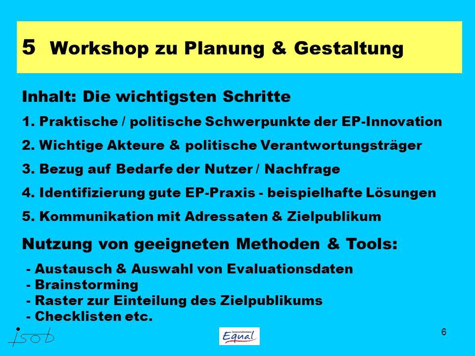 6 5 Workshop zu Planung & Gestaltung Inhalt: Die wichtigsten Schritte 1. Praktische / politische Schwerpunkte der EP-Innovation 2. Wichtige Akteure &