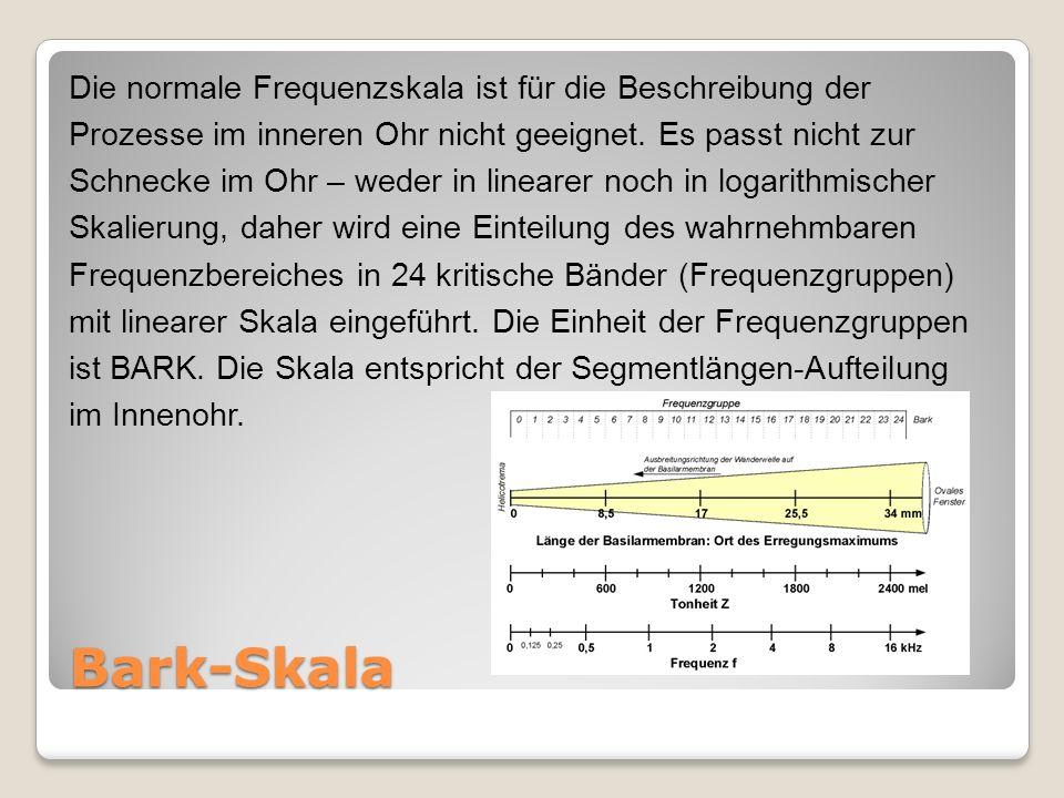 Bark-Skala Die normale Frequenzskala ist für die Beschreibung der Prozesse im inneren Ohr nicht geeignet.