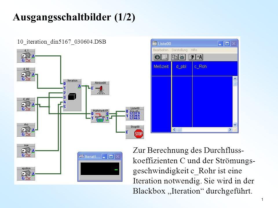 1 Ausgangsschaltbilder (1/2) 10_iteration_din5167_030604.DSB Zur Berechnung des Durchfluss- koeffizienten C und der Strömungs- geschwindigkeit c_Rohr