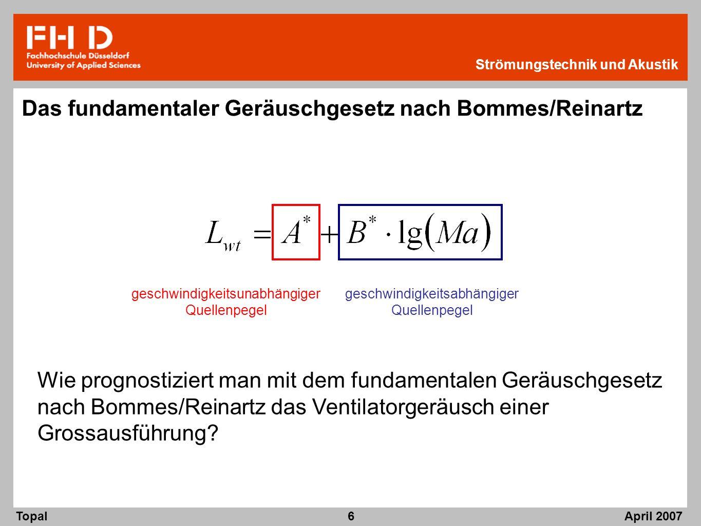 April 2007 Topal Strömungstechnik und Akustik 6 Das fundamentaler Geräuschgesetz nach Bommes/Reinartz Wie prognostiziert man mit dem fundamentalen Ger