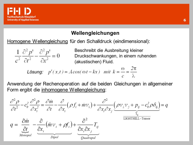 6 Wellengleichungen Homogene Wellengleichung für den Schalldruck (eindimensional): Beschreibt die Ausbreitung kleiner Druckschwankungen, in einem ruhe