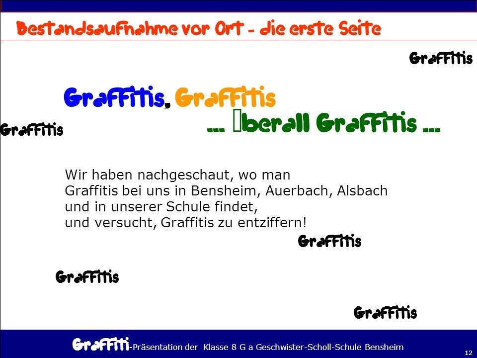 - Präsentation der Klasse 8 G a Geschwister-Scholl-Schule Bensheim 12 Wir haben nachgeschaut, wo man Graffitis bei uns in Bensheim, Auerbach, Alsbach und in unserer Schule findet, und versucht, Graffitis zu entziffern!