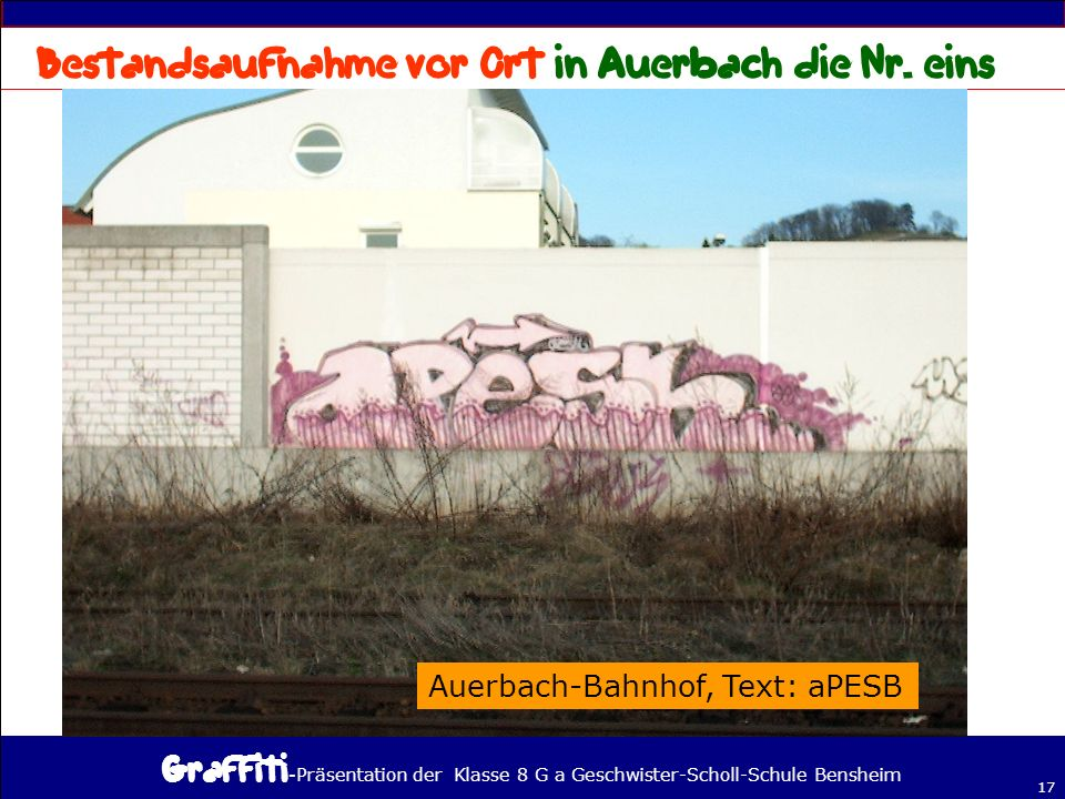 - Präsentation der Klasse 8 G a Geschwister-Scholl-Schule Bensheim 17 Auerbach-Bahnhof, Text: aPESB