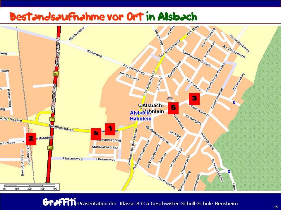 - Präsentation der Klasse 8 G a Geschwister-Scholl-Schule Bensheim 19 Wir haben nachgeschaut, wo man Graffitis bei uns findet und versucht, Graffitis zu entziffern!