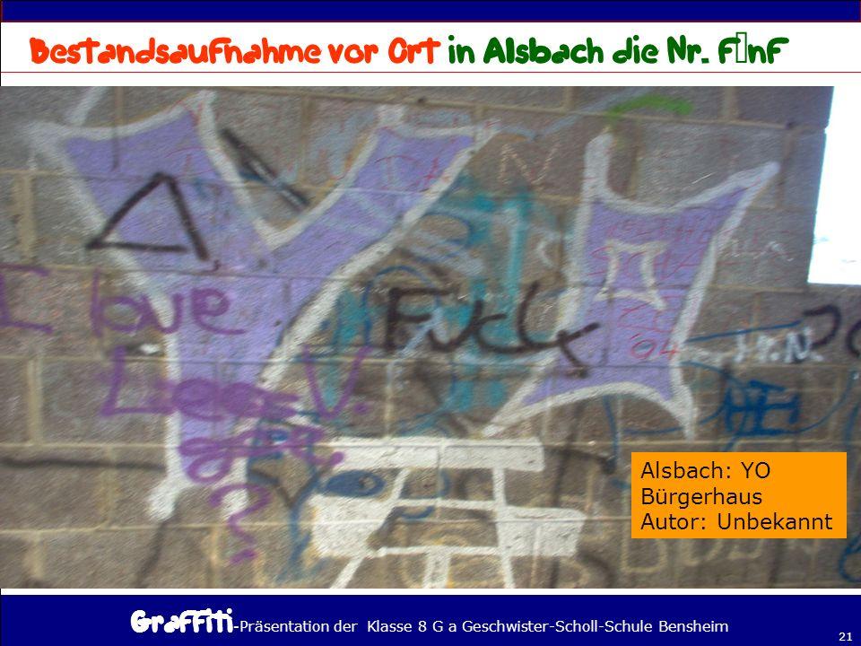 - Präsentation der Klasse 8 G a Geschwister-Scholl-Schule Bensheim 21 Alsbach: YO Bürgerhaus Autor: Unbekannt