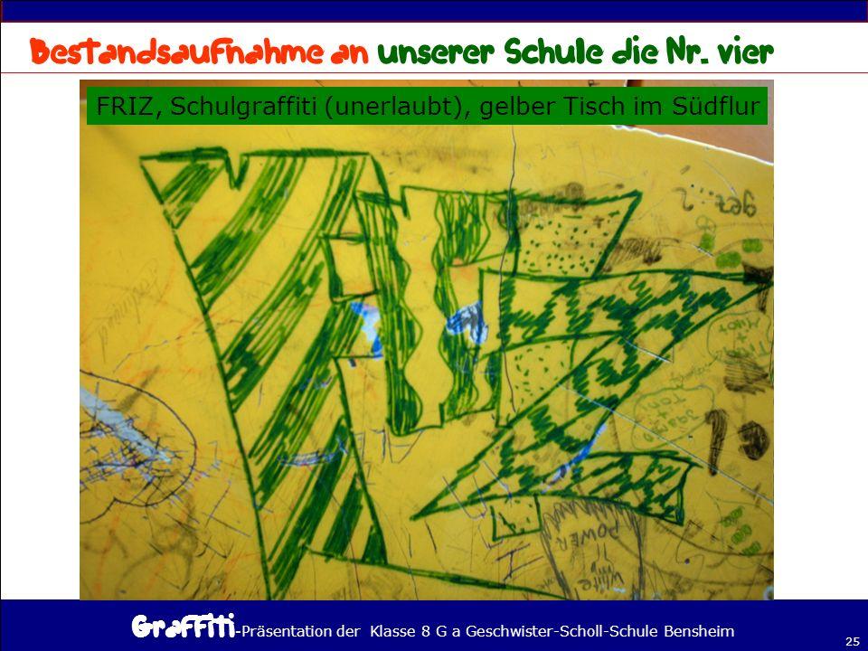 - Präsentation der Klasse 8 G a Geschwister-Scholl-Schule Bensheim 25 FRIZ, Schulgraffiti (unerlaubt), gelber Tisch im Südflur