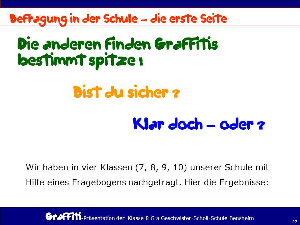- Präsentation der Klasse 8 G a Geschwister-Scholl-Schule Bensheim 27 – – Wir haben in vier Klassen (7, 8, 9, 10) unserer Schule mit Hilfe eines Fragebogens nachgefragt.