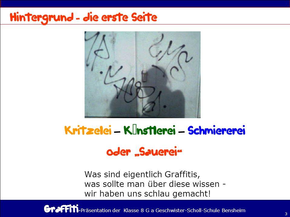 - Präsentation der Klasse 8 G a Geschwister-Scholl-Schule Bensheim 3 – – Was sind eigentlich Graffitis, was sollte man über diese wissen - wir haben uns schlau gemacht!