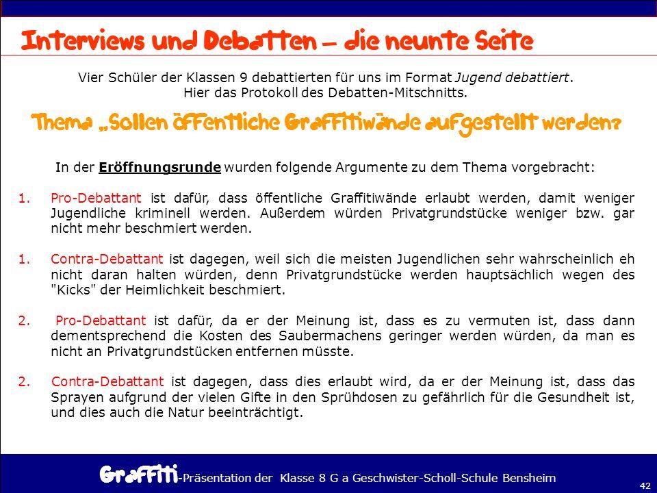 - Präsentation der Klasse 8 G a Geschwister-Scholl-Schule Bensheim 42 – Vier Schüler der Klassen 9 debattierten für uns im Format Jugend debattiert.