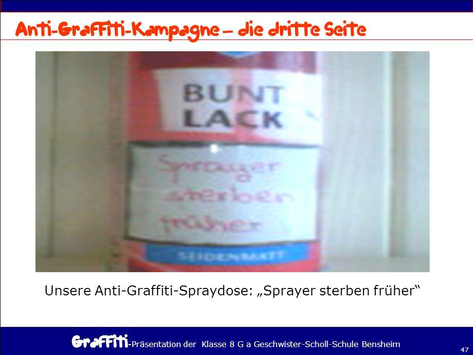 - Präsentation der Klasse 8 G a Geschwister-Scholl-Schule Bensheim 47 – Unsere Anti-Graffiti-Spraydose: Sprayer sterben früher