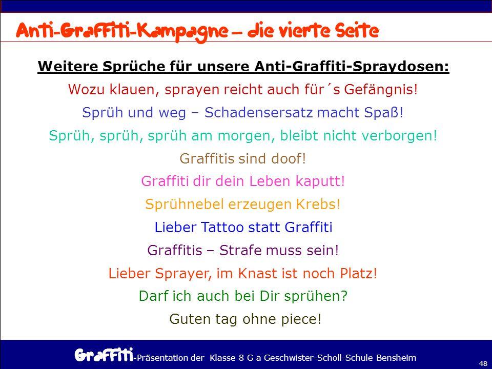 - Präsentation der Klasse 8 G a Geschwister-Scholl-Schule Bensheim 48 – Weitere Sprüche für unsere Anti-Graffiti-Spraydosen: Wozu klauen, sprayen reicht auch für´s Gefängnis.