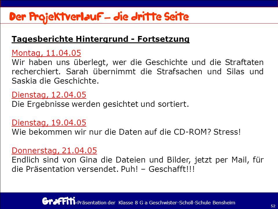 - Präsentation der Klasse 8 G a Geschwister-Scholl-Schule Bensheim 52 Tagesberichte Hintergrund - Fortsetzung Montag, 11.04.05 Wir haben uns überlegt, wer die Geschichte und die Straftaten recherchiert.