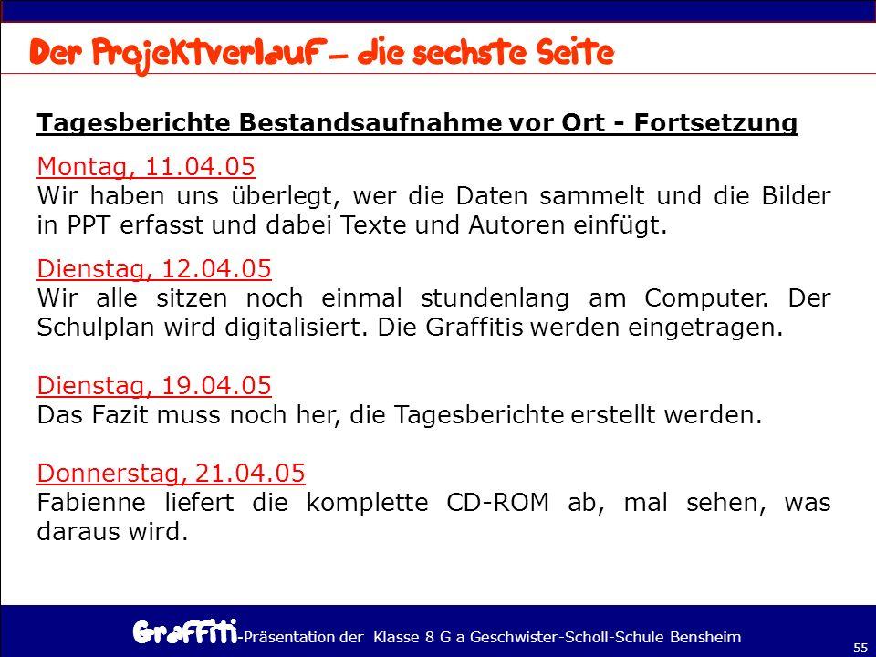 - Präsentation der Klasse 8 G a Geschwister-Scholl-Schule Bensheim 55 Tagesberichte Bestandsaufnahme vor Ort - Fortsetzung Montag, 11.04.05 Wir haben uns überlegt, wer die Daten sammelt und die Bilder in PPT erfasst und dabei Texte und Autoren einfügt.