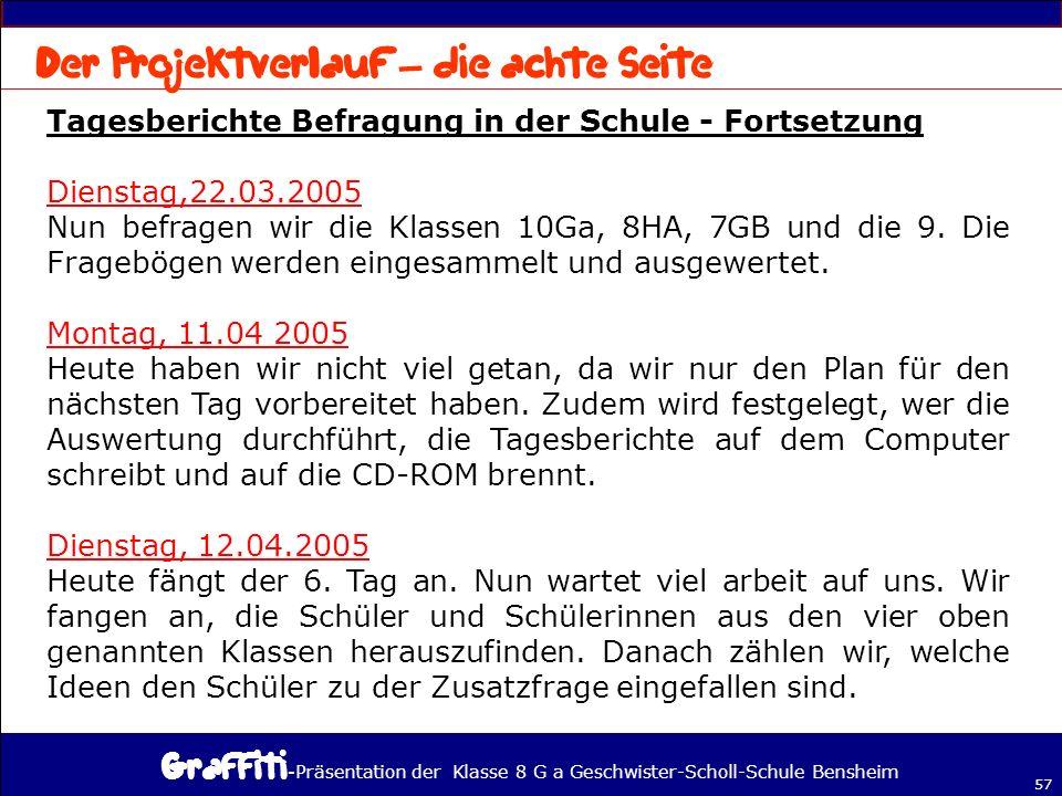 - Präsentation der Klasse 8 G a Geschwister-Scholl-Schule Bensheim 57 Tagesberichte Befragung in der Schule - Fortsetzung Dienstag,22.03.2005 Nun befragen wir die Klassen 10Ga, 8HA, 7GB und die 9.