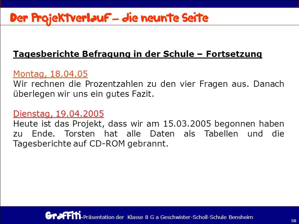- Präsentation der Klasse 8 G a Geschwister-Scholl-Schule Bensheim 58 Tagesberichte Befragung in der Schule – Fortsetzung Montag, 18.04.05 Wir rechnen die Prozentzahlen zu den vier Fragen aus.
