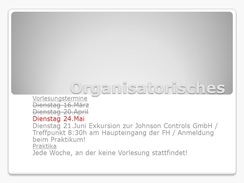 Organisatorisches Vorlesungstermine Dienstag 16.März Dienstag 20.April Dienstag 24.Mai Dienstag 21.Juni Exkursion zur Johnson Controls GmbH / Treffpunkt 8:30h am Haupteingang der FH / Anmeldung beim Praktikum.