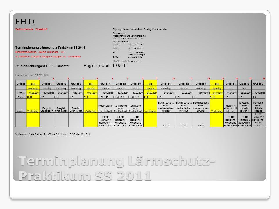Terminplanung Lärmschutz- Praktikum SS 2011 FH D Fachhochschule DüsseldorfDipl.-Ing.