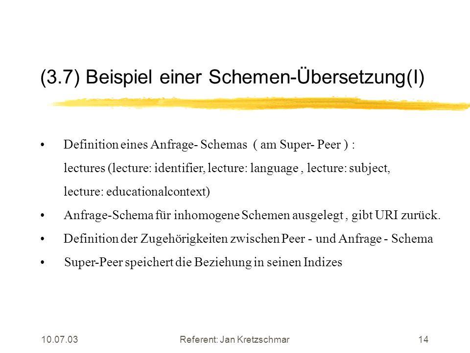 10.07.03Referent: Jan Kretzschmar14 (3.7) Beispiel einer Schemen-Übersetzung(I) Definition eines Anfrage- Schemas ( am Super- Peer ) : lectures (lecture: identifier, lecture: language, lecture: subject, lecture: educationalcontext) Anfrage-Schema für inhomogene Schemen ausgelegt, gibt URI zurück.
