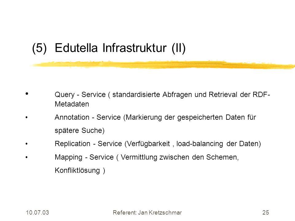 10.07.03Referent: Jan Kretzschmar25 (5)Edutella Infrastruktur (II) Query - Service ( standardisierte Abfragen und Retrieval der RDF- Metadaten Annotation - Service (Markierung der gespeicherten Daten für spätere Suche) Replication - Service (Verfügbarkeit, load-balancing der Daten) Mapping - Service ( Vermittlung zwischen den Schemen, Konfliktlösung )