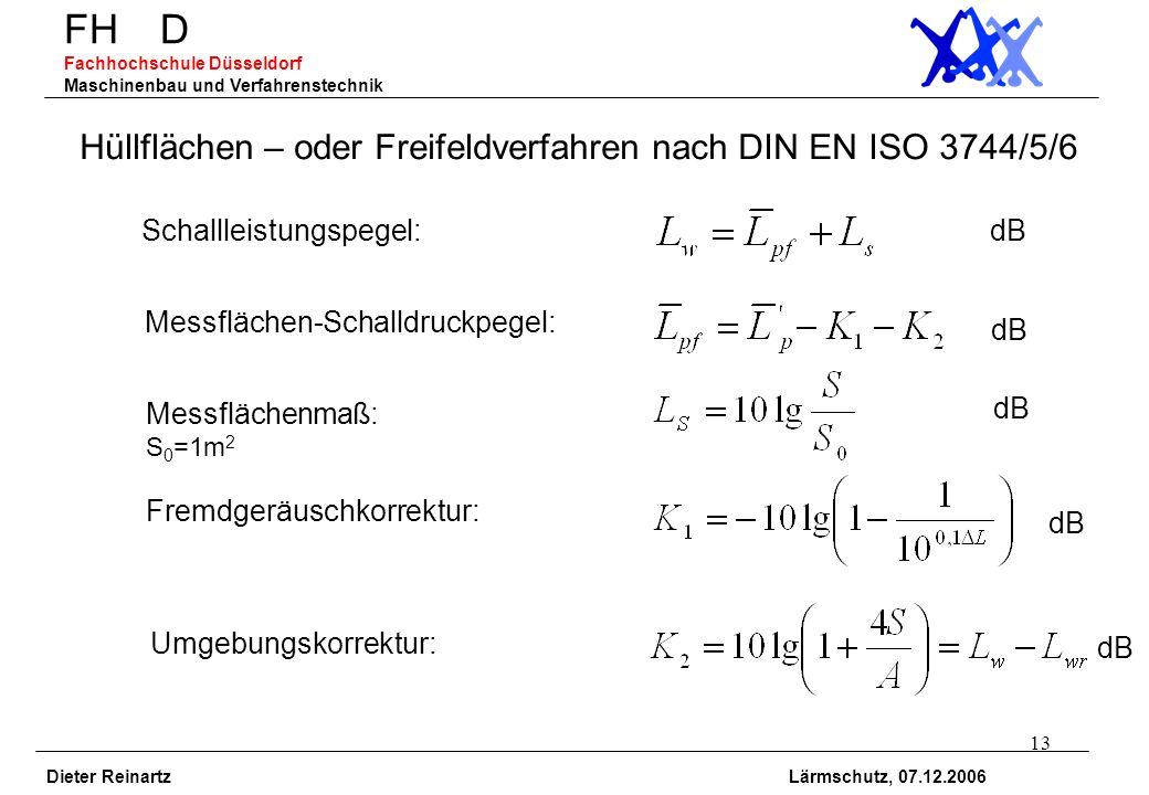 13 FH D Fachhochschule Düsseldorf Maschinenbau und Verfahrenstechnik Dieter Reinartz Lärmschutz, 07.12.2006 Hüllflächen – oder Freifeldverfahren nach
